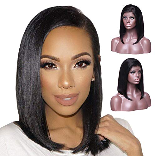 Brazilian Straight Short Bob Wigs 130% Density Lace Front Human Hair Wigs 100% Virgin Real Natural Black Wig Pre Plucked with Baby Hair for Women (12'' - Side Part)