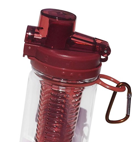 Fruit Infuser Sports Water Bottle with BONUS Carabiner Clip - Leak-proof, Spill-proof Locking Flip Top Lid - BPA Free - 25 Oz - Stylish Travel Bottle - Fruit Infused Water for a Healthy and Eco-friendly Lifestyle (Red)