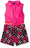 Limited Too Big Girls' Aztec Lace Sleeveless Blouse and Aztec Printed Short Romper, Neon Hot Pink, 6X