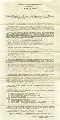 Ice Makers Save National Ammonia USFDA Request 1918