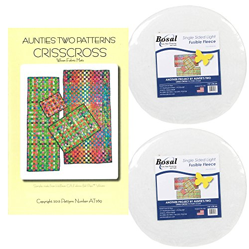 Bundle of Crisscross Pattern for Rug, Table Runner, Place Mat, Mug Rug or Table Pad; and Bosal Single Sided Light Fusible Fleece - each roll 1-3/4in x 25yds (2 Fleece Rolls)