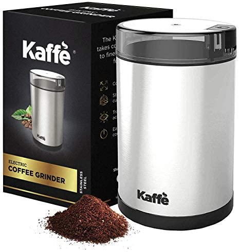 KF2020 Electric Coffee Grinder by Kaffe – Stainless Steel 2.5oz Capacity with Easy On Off Button. Cleaning Brush Included