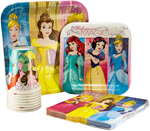 - Disney Princess Pack! Disposable Paper Plates, Napkins and Cups Set for 15 (With free extras)
