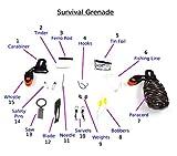 """THE HALF HOG 1"" Survival Bundle Kit (9 Item): Paracord Grenade, Ferro Rod, Paracord Bracelets (x2), LED Flashlight, Wire Saw, Whistle, Fresnel Lenses (x2)"