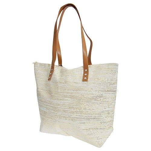 Metallic Gold Woven Top Handle Bag (FLOSO Womens/Ladies Metallic Straw Woven Summer Handbag (One Size))