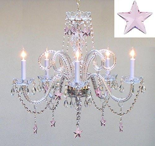 Empress crystaltm chandelier lighting with pink crystal stars h25 empress crystaltm chandelier lighting with pink crystal stars h25quot x w24quot aloadofball Image collections