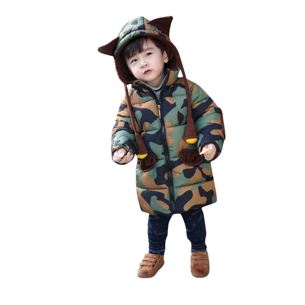 Little Kids Winter Warm Coat,Jchen(TM) Fashion Toddler Boy Hooded Camouflage Coat Jacket Kid Zipper Thick Outerwear Coat for 0-5 Y (Age: 12-18 Months)