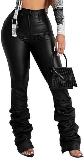 Fly Year-JP 女性セクシーなファッションフェイクレザーパンツハイウエストPUレギンスパンツ
