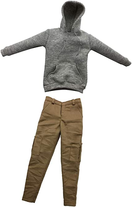 1//6 Gray Hoodie Sweater /& Pants Clothing Accessory For 12/'/' Male Figure
