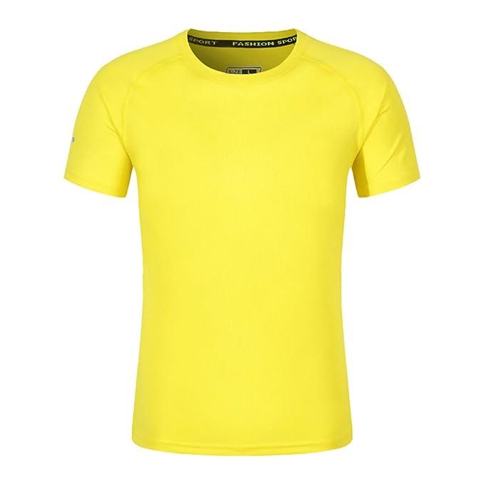 7b1c5af34a92 Dooxi Unisex Herren Damen Rundhals Kurzarm T-Shirt Tops Sommer Freizeit  Sport Einfarbig T-Shirts Gelb L  Amazon.de  Bekleidung