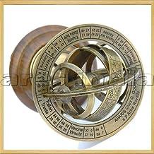 "Ares India 5"" Nautical Brass Armillary Sphere World Globe Rosewood Base Table Decor Gift"