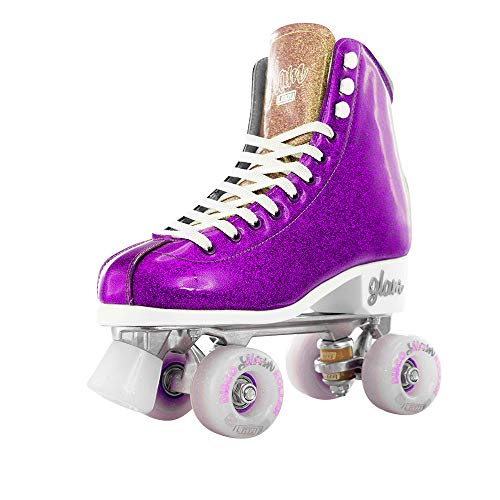 Crazy Skates Glam Roller Skates for Women and Girls | Dazzling Glitter Sparkle Quad Skates |Purple with Gold (Size 9.5) - Gold Roller Skates