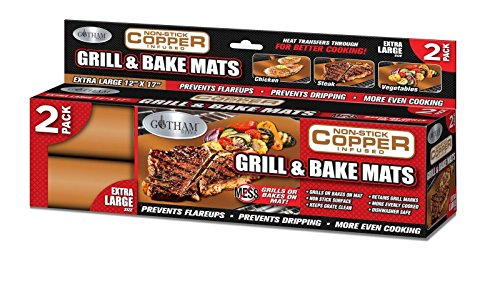 Gotham Steel Reusable Non-Stick Copper BBQ Grill & Baking Mats , 2 Pack