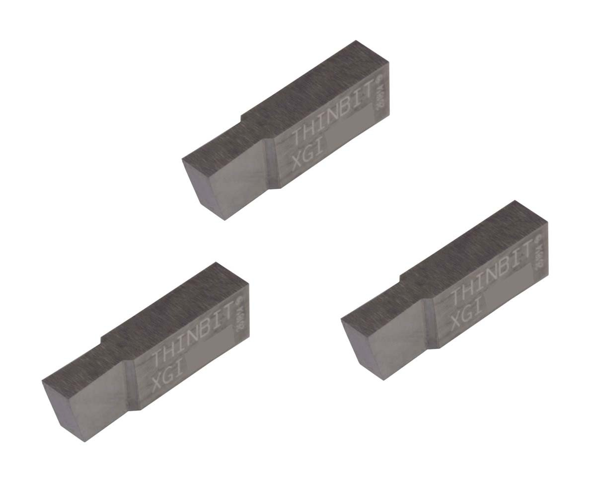 Uncoated Carbide Aluminium and Plastic Without Interrupted Cuts Grooving Insert for Non-Ferrous Alloys THINBIT 3 Pack XGI150D5 0.150 Width 0.250 Depth Sharp Corner