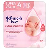Johnson's Baby Extra Sensitive Fragrance Free Wipes (56 per pack x 4)