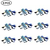 PCI-E Riser Cable, ZIKO 9-Pack PCIE Riser Adapter VER 006C PCI-E Riser 6 Pin 1x to 16x Powered Riser Adapter 60cm USB 3.0 Extension Cable for BitcoinLitecoinETH coin