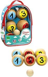 Vilac Petanque Balls Set, Brown/yellow/red/blue