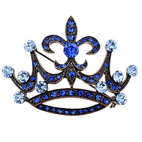 Blue Fleur De Lis - Vintage Style Blue Fleur-De-Lis Crown Crystal Brooch Pin