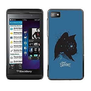 "For Blackberry Z10 Case , Gatito Gato Mascotas Estrellas Spooky Azul Negro"" - Diseño Patrón Teléfono Caso Cubierta Case Bumper Duro Protección Case Cover Funda"