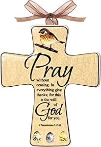 "5.5"" Religious ""Pray"" 1 Thessalonians 5:17-18 Outdoor Patio Ceramic Wall Cross"