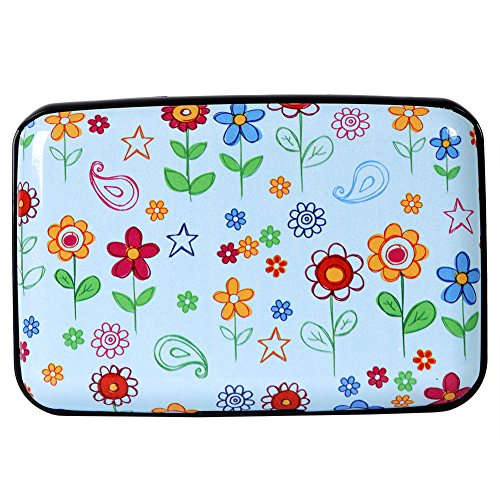 (Aluminum Wallet RFID Blocking Slim Metal Credit Card Holder Hard Case (Colored Doodle Flowers))
