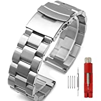 Silver Stainless Steel Watch Bands Brushed Finish Watch Strap 18mm/20mm/22mm/24mm Double Buckle Bracelet