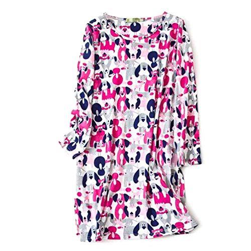 ENJOYNIGHT Women's Cotton Sleepwear Long Sleeves Nightgown Print Tee Sleep Dress (Large, Rose Red)