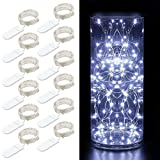 12 Packs Fairy String Lights, 3.3FT 20 LEDs Battery Operated Jar Lights Bedroom Patio Wedding Party Christmas (Cool White)