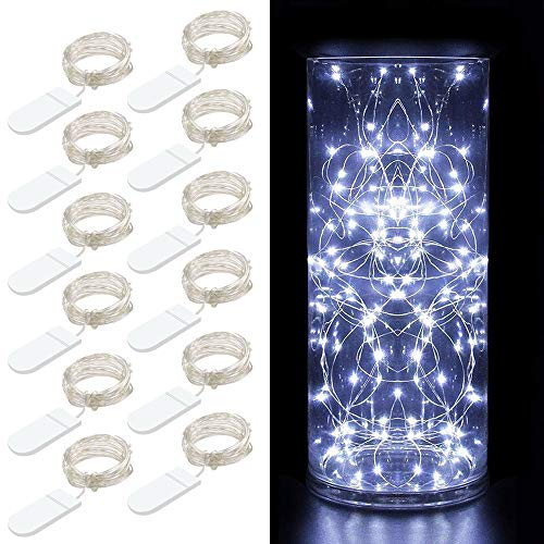 MINGER 12 Packs Fairy String Lights, 3.3FT 20 LEDs Battery Operated Jar Lights Bedroom Patio Wedding Party Christmas (Cool White) ()