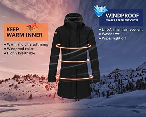 Outdoor Ventures Women's Softshell Jacket Hooded Lightweight Windproof Fleece Lined Waterproof Long Coats