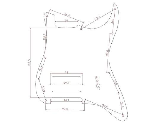 Amazon Com Kaish 11 Hole St Strat One Humbucker Guitar Pickguard