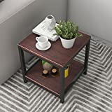 Soges Modern End Table 15.7'' Square Coffee Table Sofa Side Table Telephone Table, Walnut TVST-ZS-WA-40
