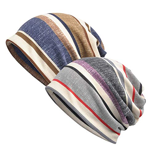 Zando Womens Beanie Hat Knit Striped Slouchy Cap Mens Thin Soft Stylish Hip-hop Headwraps Cap Chemo Caps for Women Baggy Sleep Cap 2 Pack Blue Stripe Grey Stripe ()