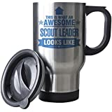 BLUE This is what an AWESOME Scout Leader Looks like SILVER Mug - Gift idea work