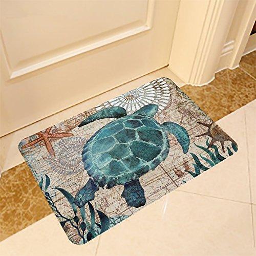 (ECONIE Sea Turtle Door Mat Ocean Animal Home Bathroom Bath Shower Bedroom Mat Toilet Floor Door Mat 15.7X23.6 in (01)...)