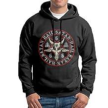 Hail Satan Baphomet Goat In Pentagram Pullover Hooded Adult Black Sweatshirt Hoodie