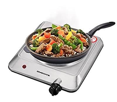 Ovente Countertop Burner, Infrared Ceramic Glass Single Plate Cooktop, Indoor and Outdoor Portable Stove, 1000 Watts (BGI201)