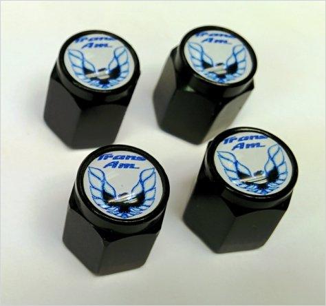 Pontiac Trans Am Formula Valve Stem Caps (Black - Blue/White)