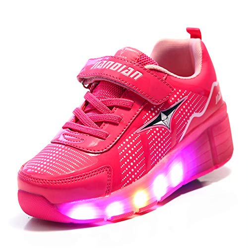YUHJ led Shoes Running Luminous Children's Casual Shoes Roller Shoes(,Pink,29)]()