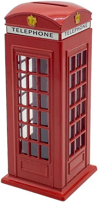 BeeSpring Delicate Britain Metal Alloy Money Coin Spare Change Piggy London Street Red Telephone Booth Bank Souvenir Model Box Jar Piggy Bank Red Phone Booth Box Moneybox-5.5