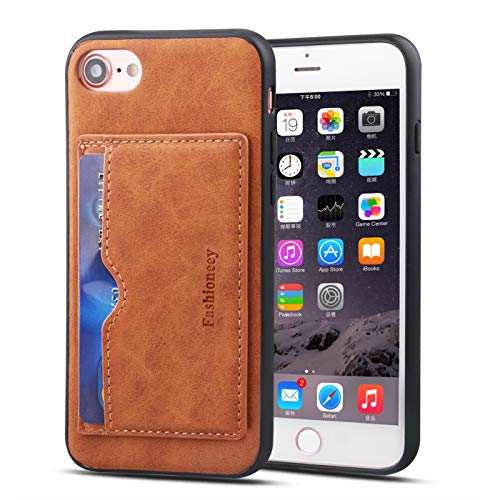 Compatible for iPhone8/ iPhone7 Leather Card Case,Fashioneey Minimalist Vintage Synthetic Leather Wallet Case,Ultra Slim Professional Cover with 2Card Holder Slot Compatible for iPhone8/iPhone7