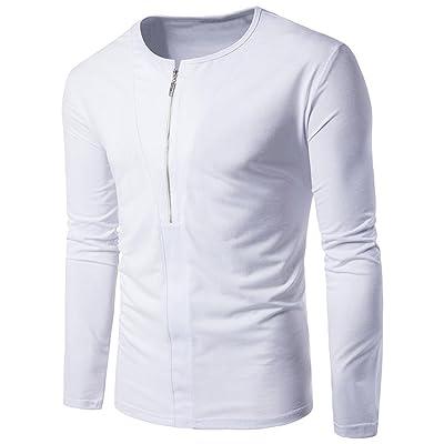 Botrong Fashion Men Zipper Casual Slim Cotton Shirt Top Blouse