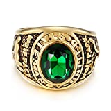 LILILEO Jewelry Gold Titanium Steel Retro US Eagle Mosaic Green Glass Student Graduation Season Ring For Unisex Rings