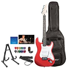 Starcaster by Fender Squier Red Electric Guitar with Stand, Strap, Strings, Gig Bag, DVD, Tuner and Pick Sampler