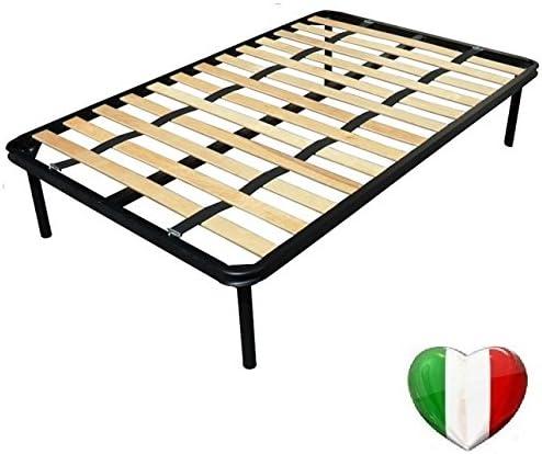 - Dolci Sogni - Somier ortopédico de láminas de 120 cm x 200 cm para colchones de una plaza y media. Correas, patas y pata central de refuerzo ...
