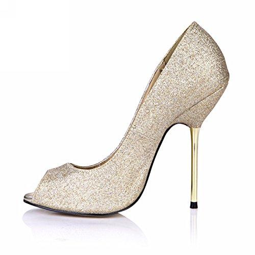 Glitter Piepgeluid Hoge Dunne Hakken Vrouwen Stiletto Pumps Multi Kleuren Mode Dorsay Dolphingirl Schoenen Prime Shiny Golden