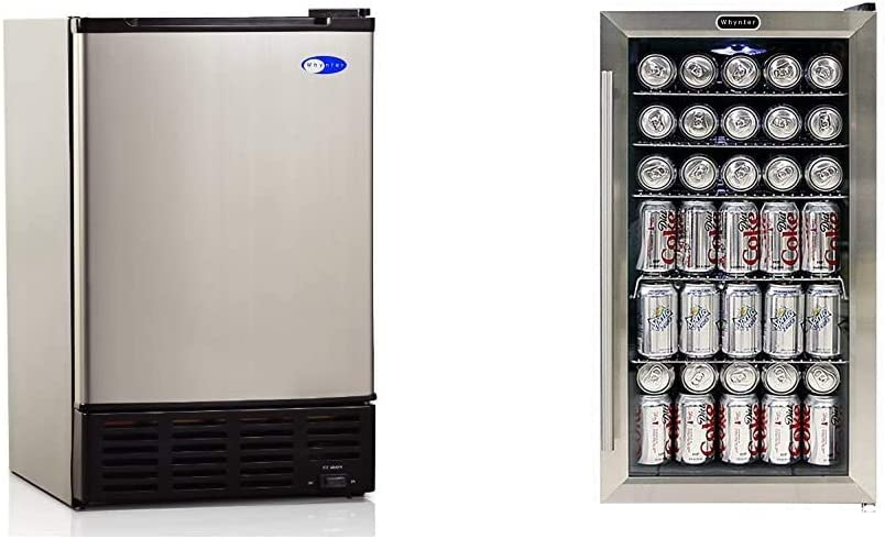 Whynter UIM-155 Stainless Steel Built-In Ice Maker & BR-130SB Internal Fan Beverage Refrigerators, One Size, Black/Stainless Steel