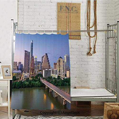 Austin Texas American City Bridge Over The Lake Skyscrapers USA Downtown Picture Shade Bed Curtain. (63