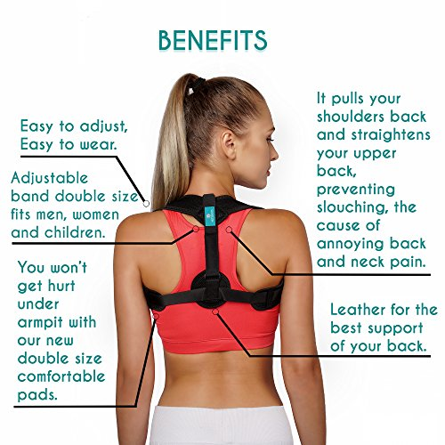 Posture Corrector for Women and Men Adjustable Upper Back Brace for Pain Relief from Neck Back and