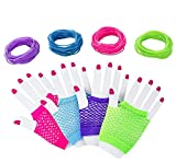 M MISS FANTASY Neon Gloves Diva Gloves Stretchy Fishnet Finger-Less Wrist Gloves 80's Party Supplies Halloween Costume Accssories (12 Pair)